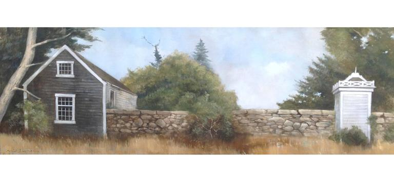 """""""Up Island Retreat"""" Pastoral Landscape With Green Yellow Grey Blue"""