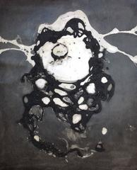 """""""#09"""" abstract ink and fibers on paper in black and white"""