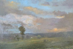 """""""Middle Road"""" oil painting of Martha's Vineyard landscape in pastel colors"""