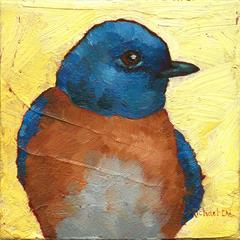 """""""A Touch of Sweet"""" oil painting of a blue and brown bird on yellow background"""