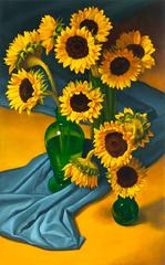 12 Sunflowers with Blue Cloth