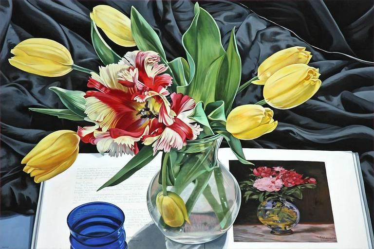 Sherrie Wolf Still-Life Painting - Yellow Tulips with Manet