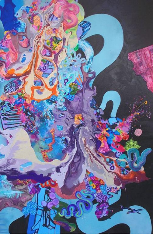 Kimber Berry, A Dance With Dragons,  Acrylic and Mixed Media on Canvas, 72x48.  It is in a float white frame.  This is a layered, dimensional contemporary painting.  It is filled with black, blue, purple, orange and vibrant colors.  Kimber Berry is