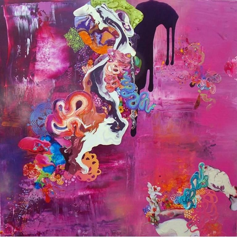 Thank You for the Magic Carpet Ride, Mixed Media, painting, 48x48, Pink, Blue - Painting by Kimber Berry