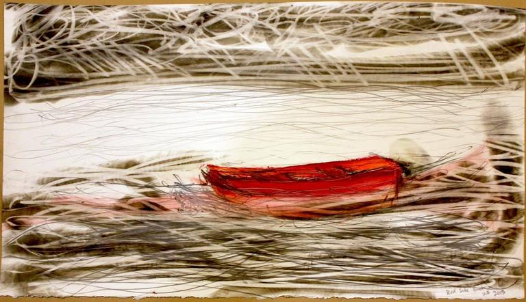 Wayne Zebzda Landscape Art - Red Life Boat