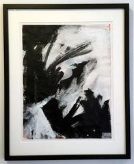 Saturn 23, abstract art,  work on paper, Acrylic on paper, black, white