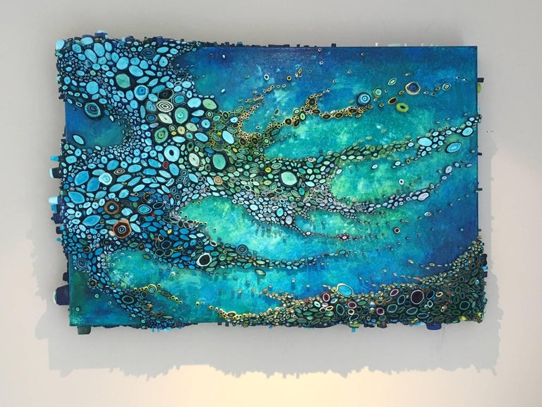 Sea Scatter, Rolled Paper and Acrylic on Canvas, 24 x 36 x 4.  Connecticut artist, Amy Genser makes dimensional organic paper seascapes. These colorful, textural, one-of-a-kind wall pieces embody movement and processes.  She masterfully manipulates