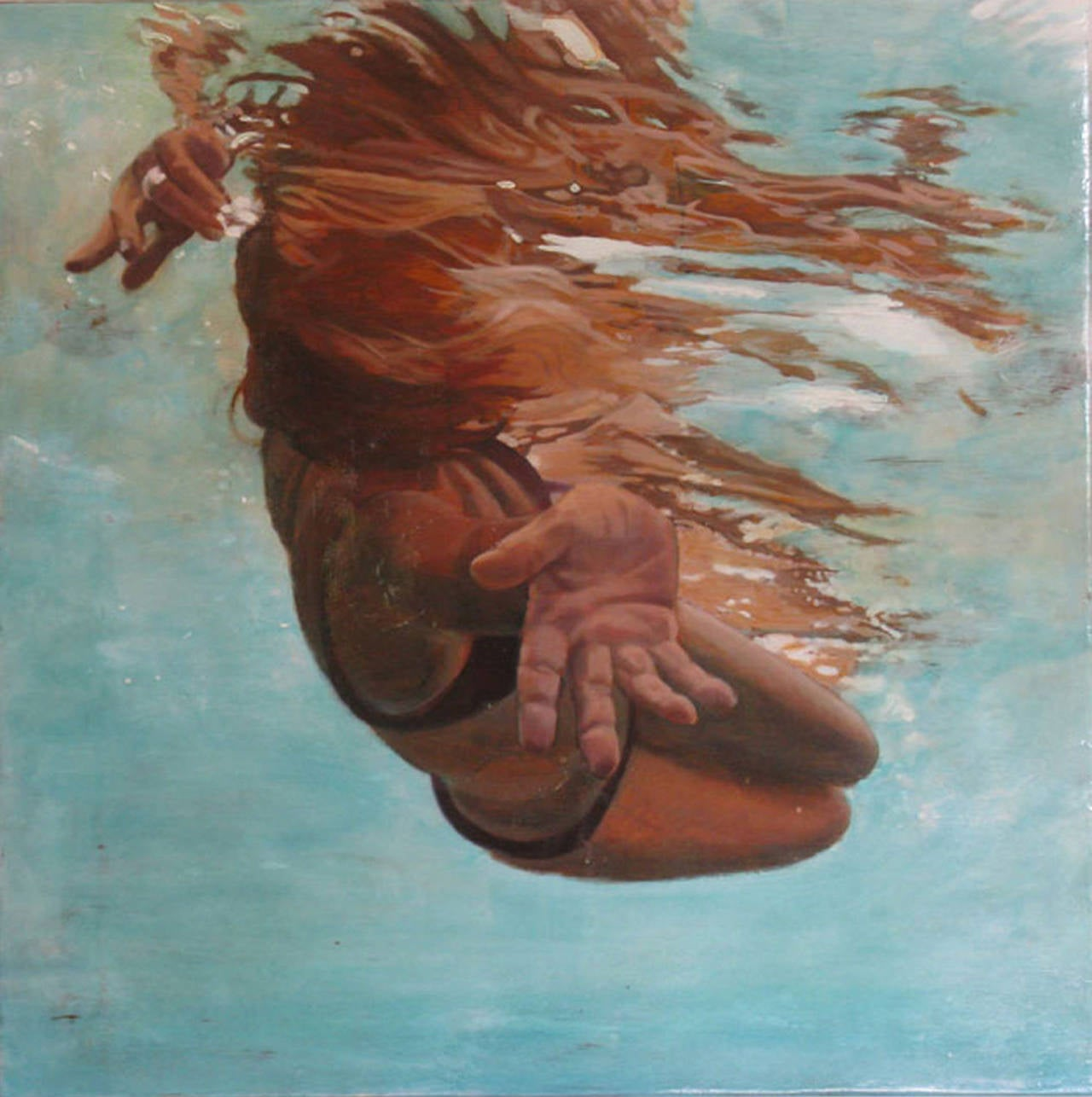 Carol Bennett Figurative Painting - Twist, Underwater Swimmer painting, Oil, Acrylic, Wood Panel, Figurative