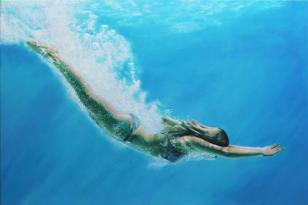 Matt Story Figurative Painting - Silver Dive
