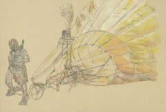 Balloon, Flying Machine, Drawing, Work on Paper, Ink, Watercolor, Tan, Yellow