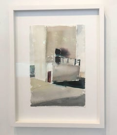 VFD 5, Watercolor, painting, Industrial Building, white, gray, framed