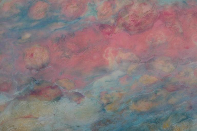 Lac Trouser - Gray Landscape Painting by Marie Danielle Leblanc