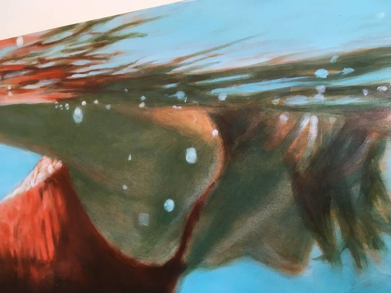 See Water - Blue Figurative Painting by Carol Bennett