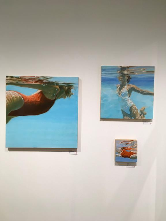 See Water is a figurative swimmer artwork by Hawaii artist Carol Bennett.  It is acrylic, Oil and Varnish on Wood Panel.  The painting takes the viewer into a meditative oasis.  Carol Bennett spends all of her time surrounded by water, and a great