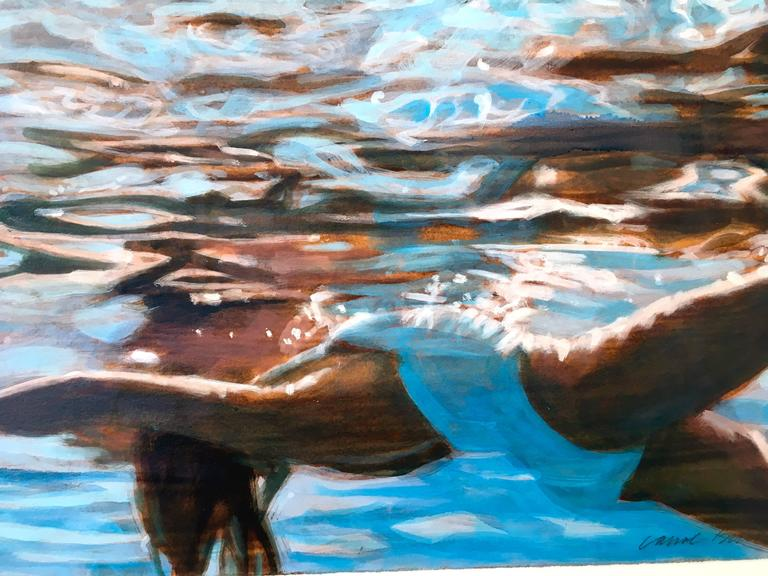 Light Catcher is a swimmer artwork.  This is part of a new series of works on paper, hand painted with a wood grained background.  Artwork is 12x18.  Framed  Carol Bennett spends all of her time surrounded by water, and a great deal within it.  Her