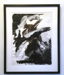 Europa 30 Study, Abstract art, work on paper, Acrylic on paper, black white gray