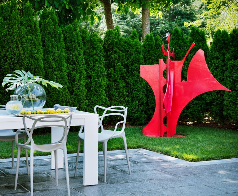 Carole Eisner Abstract Sculpture - Queen of Hearts, Red Steel Sculpture, Outdoor, Found Metal, Garden Sculpture
