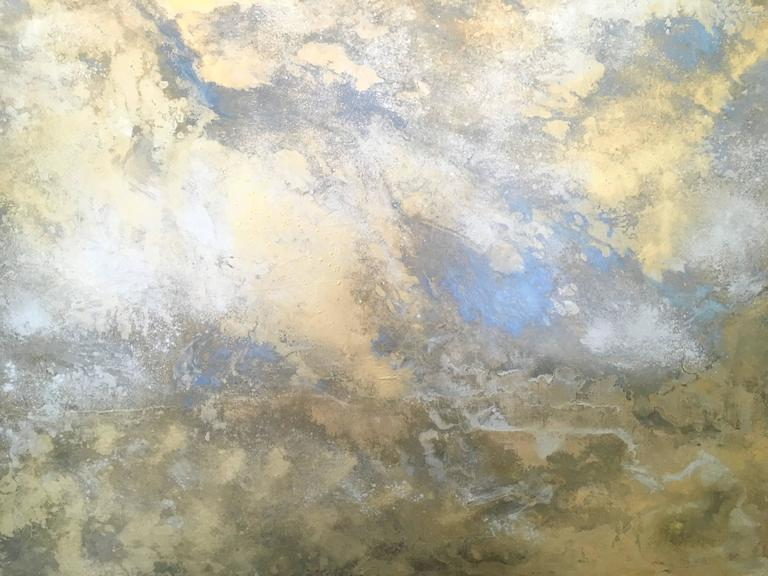 Michelle Gagliano, Rhosen, Oil and Oil Glazes on Wood Panel, 48x48.  Rhosen is inspired by the Sun coming out after a rainstorm.  It conveys beauty and optimism.  Michelle Gagliano's art is a continuous engagement with the notion of beauty and