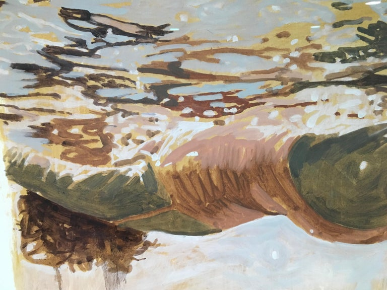 Salmon Study by Hawaii artist Carol Bennett is Oil and Shellac on Paper, 22x22.  It is framed to 24x24.  Carol Bennett spends all of her time surrounded by water, and a great deal within it.  Her work is a meditative journey through both the water