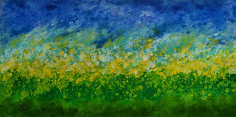 Marie Danielle Leblanc Landscape Painting - Gilli Air Island, abstract landscape, blue, green, yellow, hi-gloss finish 30x60
