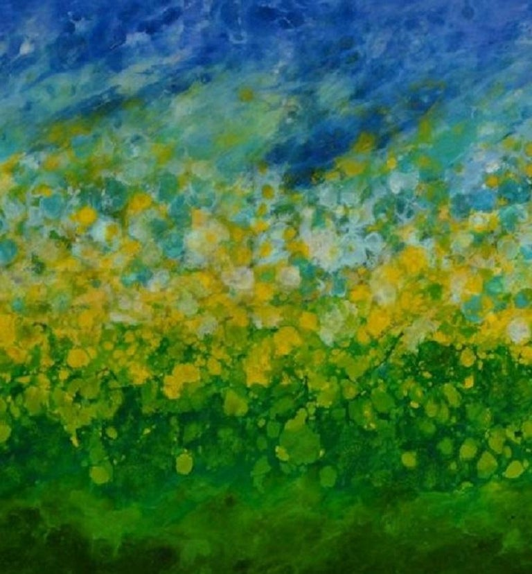 Gilli Air Island, abstract landscape, blue, green, yellow, hi-gloss finish 30x60 - Gray Landscape Painting by Marie Danielle Leblanc