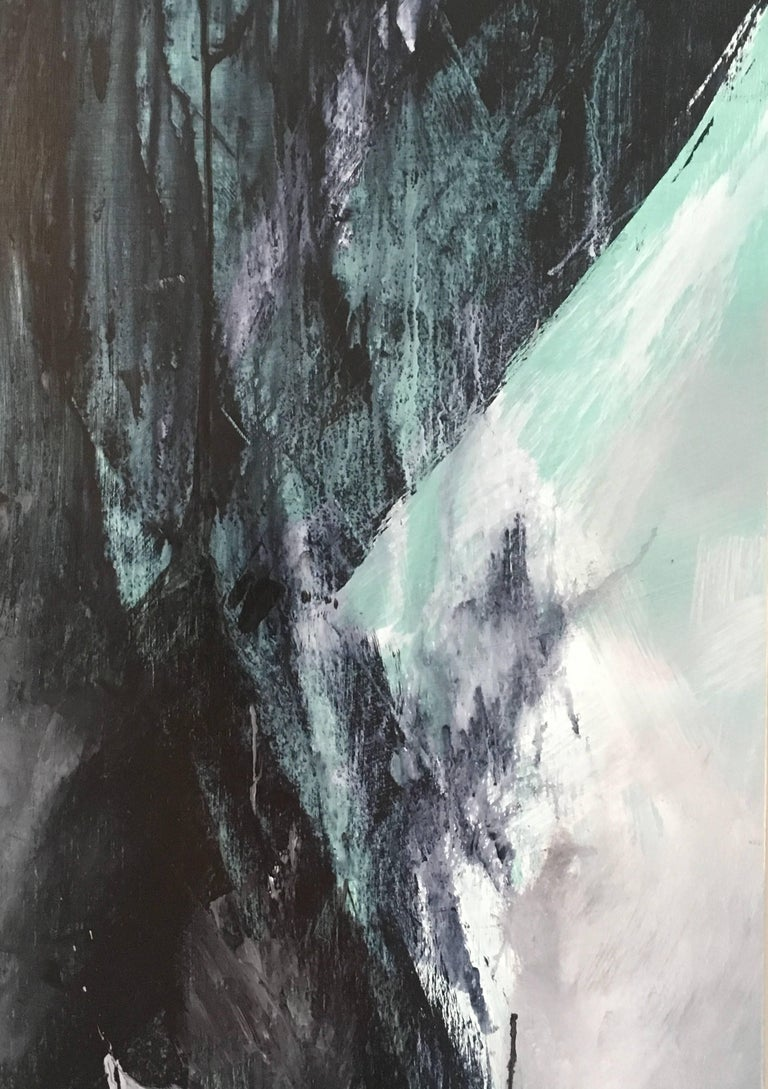 Europa 21 and Europa 22 are abstract paintings.  They are acrylic on wood panel.  Each is 48x 36.  Together the diptych is 48 x 72.  It is black, white, gray and green.    Stephanie Cate is an emerging abstract painter based out of Los Angeles,
