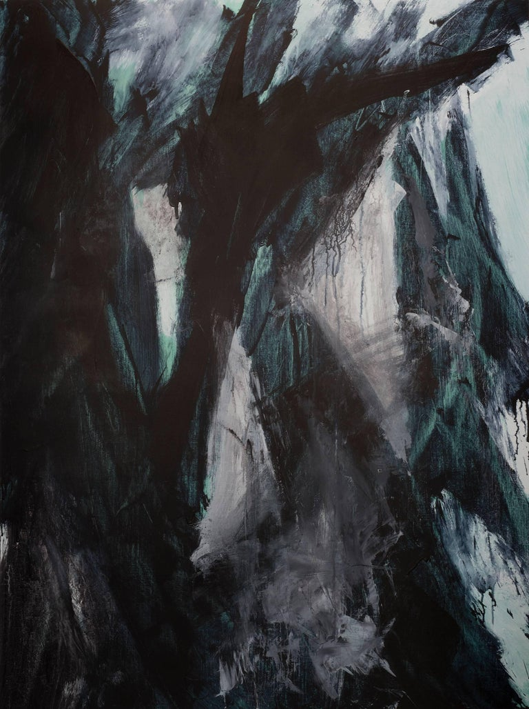 Europa 21 & 22 Diptych, abstract art, acrylic on wood panel, black, white, green - Painting by Stephanie Cate