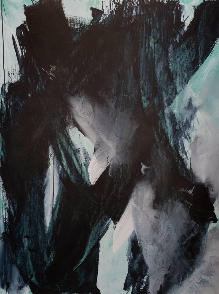 Europa 21 & 22 Diptych, abstract art, acrylic on wood panel, black, white, green - Abstract Painting by Stephanie Cate