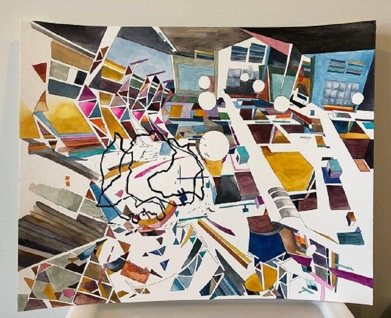 Yasemin Kackar Demirel Landscape Art - New Nostalgias, Landscape, Interior space, Watercolor, Block print on paper