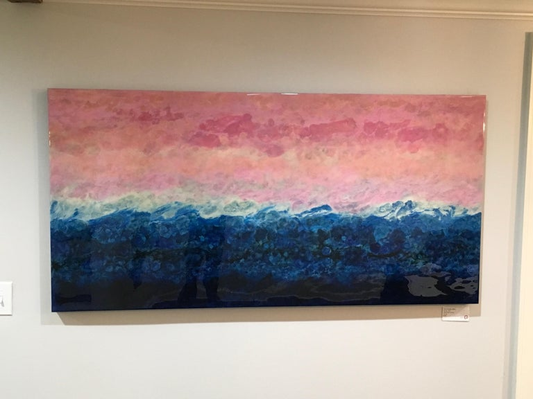 Fiorland, abstract landscape, 30x60, Pink, Blue, White, hi-gloss finish