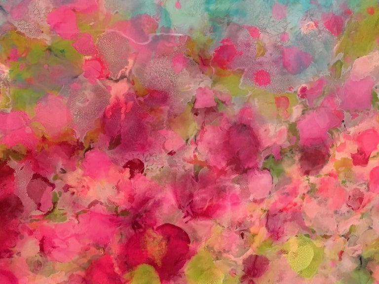Hyangjia, Colorful Abstract Landscape, Blue, Pink, Green, hi-gloss finish, 30x60 - Gray Landscape Painting by Marie Danielle Leblanc
