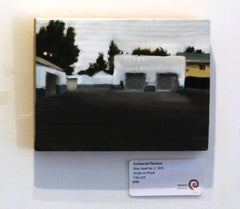Ohio Small, No. 3, Small Industrial Landscape, Acrylic, Wood Panel, White, Brown