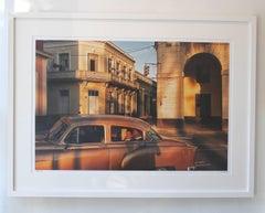 Cuba 4, Limited Edition Color Photograph, Vintage Car, Gold, People
