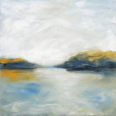 Midday Study, Abstracted Landscape, Oil on Canvas, yellow, brown, blue