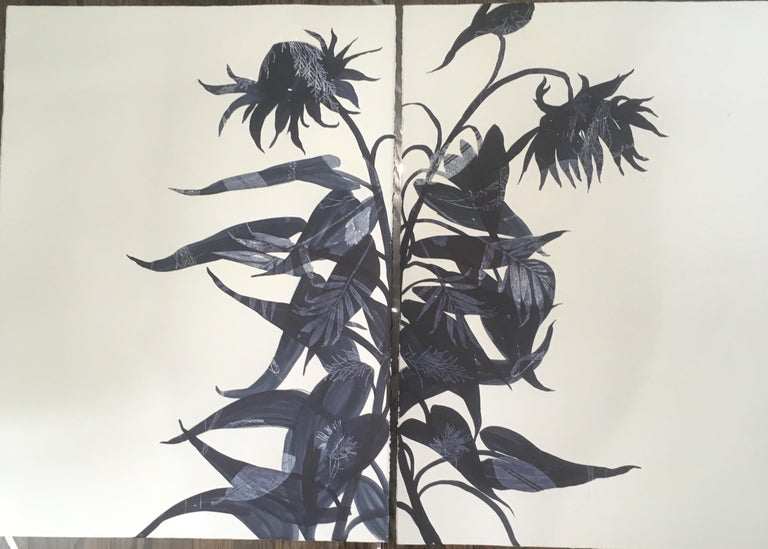 Charmed and Stance Monotypes, Botanical works on paper, Dark Blue, One of a kind