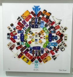 Car Mandala, Limited Edition Photograph, Toy cars, planes, plexifacemount framed
