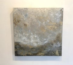 Mackeral Sky 2, cloudscape, oil, oil glazes on wood panel, silver, gold, brown