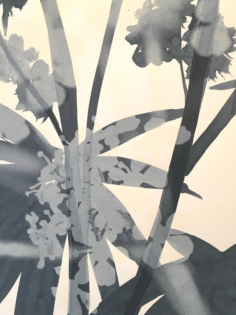 Castor Bean Blossoms, mixed media botanical monoprint, blue and white, unframed - Print by Cynthia MacCollum