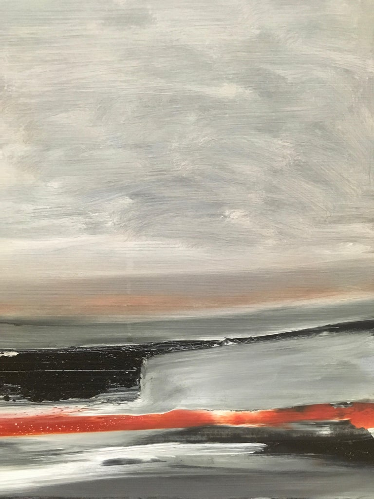 Shore III, Stormy abstract landscape, Oil on Board, Framed, Hudson River School For Sale 2