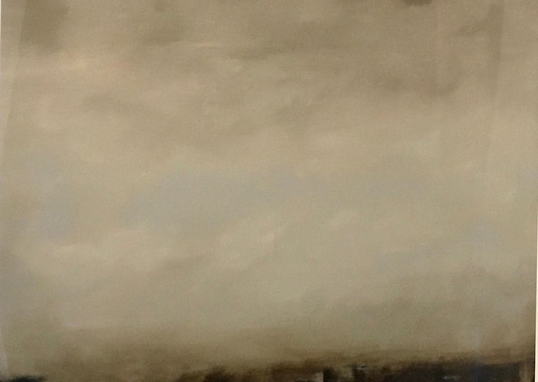 Cirrus I, Abstracted landscape, Hudson River School, Oil on board, framed - Painting by Sharon Gordon
