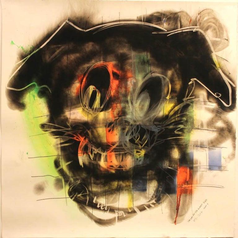 Wayne Zebzda Animal Painting - Dog, Carbon Smoke, Acrylic, Work on Paper, Pop Art