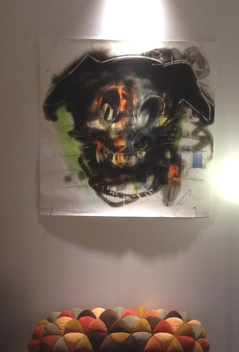 Dog, Carbon Smoke, Acrylic, Work on Paper, Pop Art For Sale 1