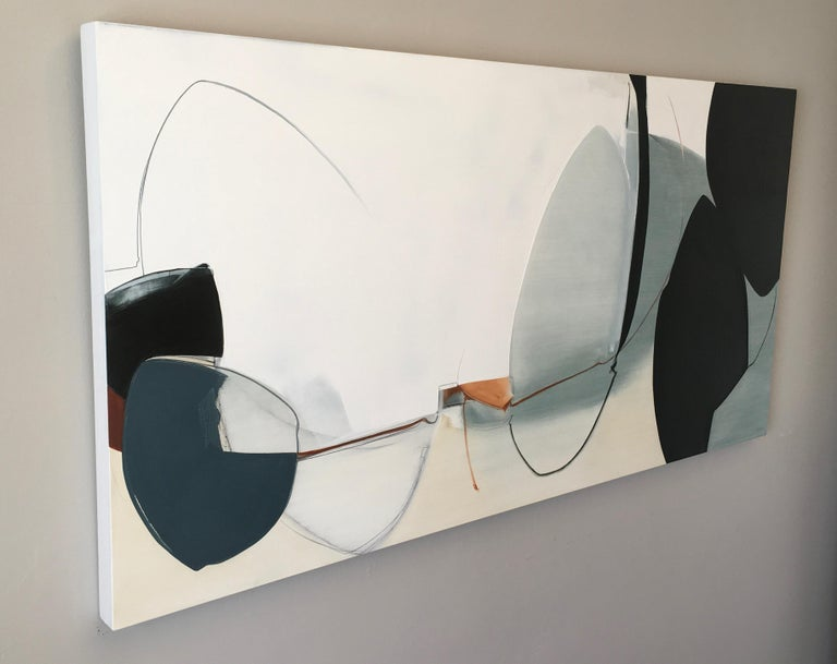Undeterred, Large Abstract painting, Oil and Graphite on Panel, Black, off white - Painting by Rose Umerlik