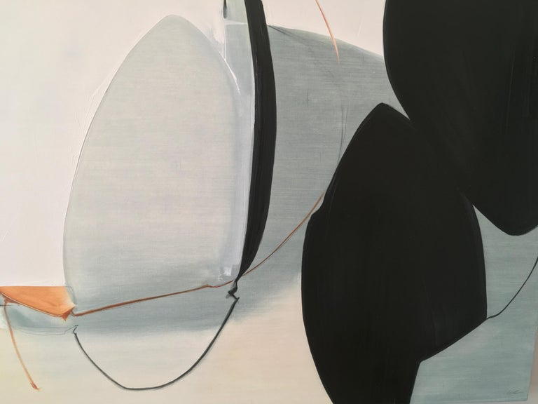 """Undeterred by Rose Umerlik is an abstract painting, Oil and Graphite on wood panel, 30x60.  According to Umerlik: """"This piece is about facing challenges as a couple or family. There are two strong black oval forms off to the side that represent a"""