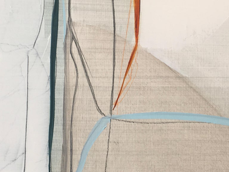 """Deciding by Rose Umerlik is an abstract painting, Oil and Graphite on wood panel, 26 x 42.  According to Umerlik: """"This piece is about being pulled in many different directions by an important decision. While most of my work delves into the"""