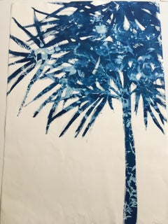 Palmetto, Botanical Cyanotype, Work on Paper, Blue