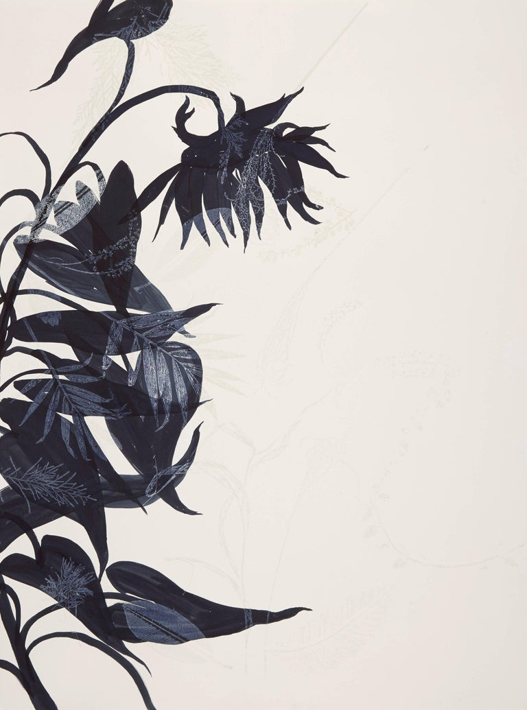 Charmed Monotype, Botanical works on paper, Dark Blue, One of a kind