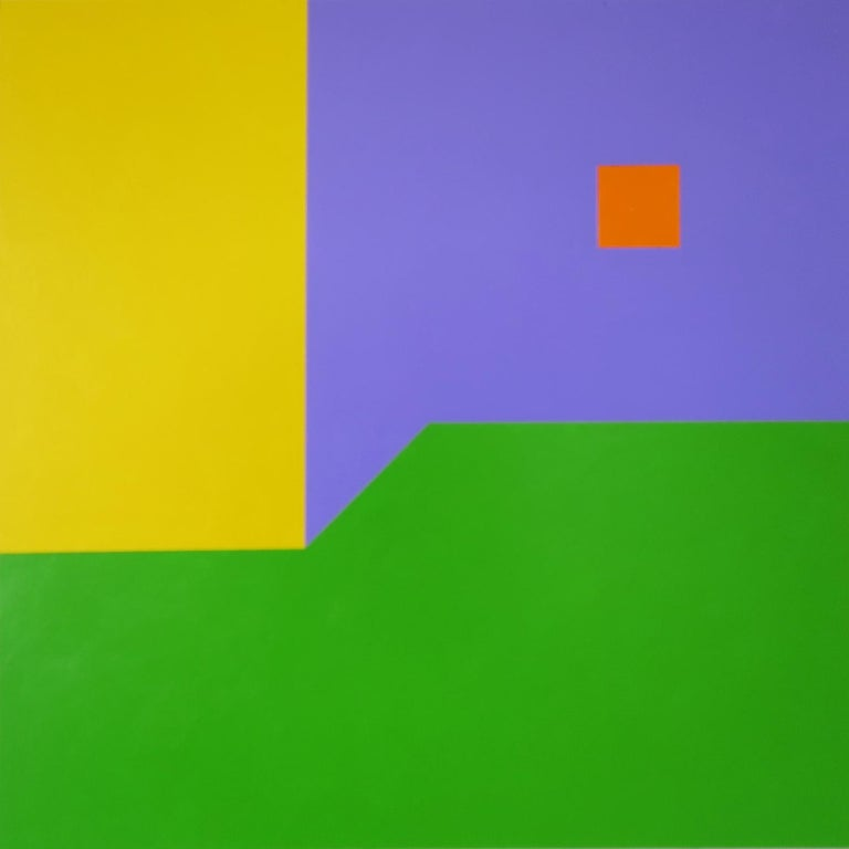 Scene 89, Geometric Interior space, Yellow Purple Green Small Acrylic painting
