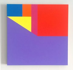 Scene 149, Geometric Interior space, Yellow Purple Red Small Acrylic painting