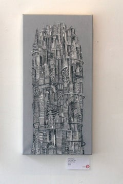 Silver Tower, NYC Buildings, Chrysler Building, Reimagined Metropolis, Acrylic
